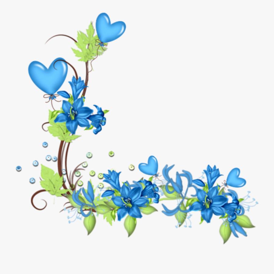 Transparent Blue Flower Border Png - Border Design Blue Flower, Transparent Clipart