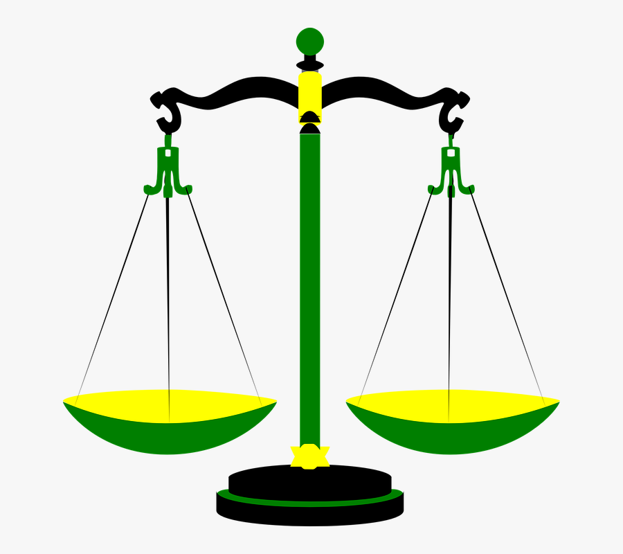 Justice Scales Weighing Law - Scales Of Justice Clip Art, Transparent Clipart