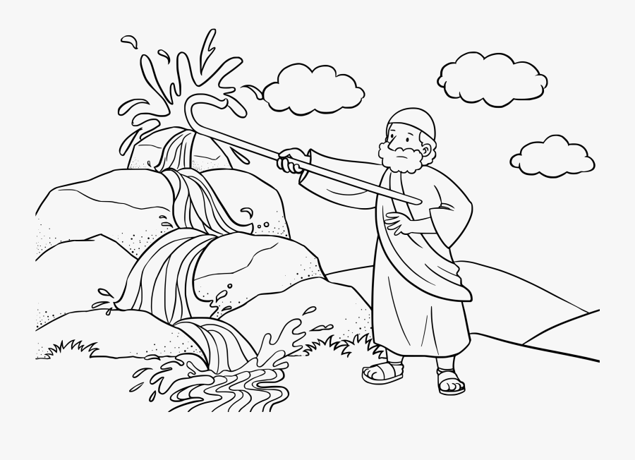 Moses Crash The Rock Coloring Pages - Moses Water From Rock Coloring Page, Transparent Clipart