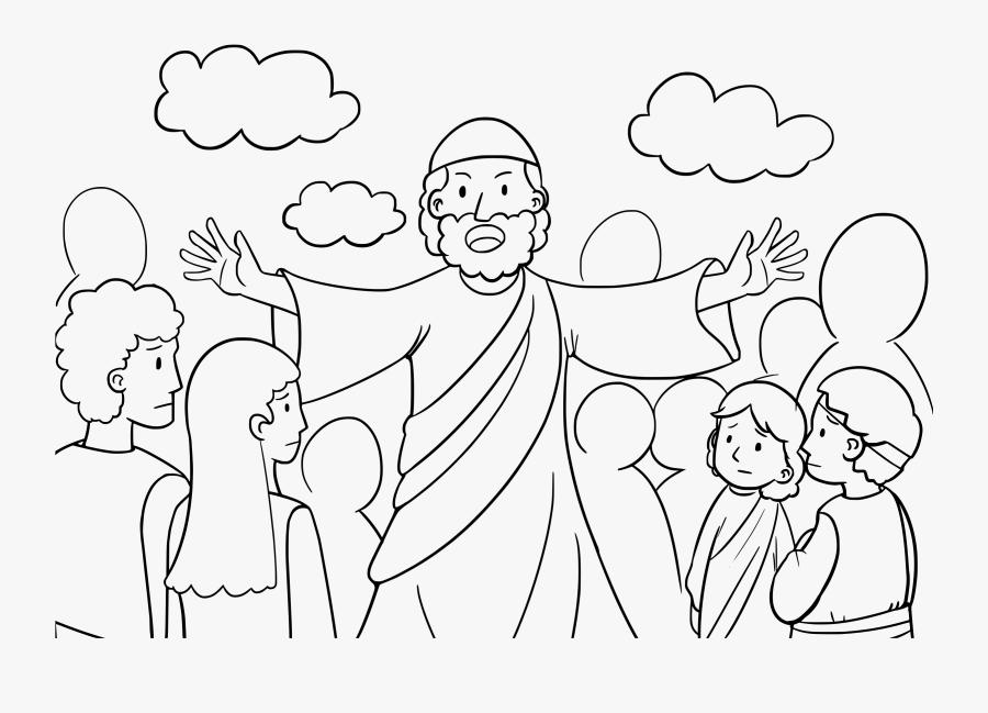 Moses Talk To Israelites Coloring Pages - Dibujos De Moisés Predicando, Transparent Clipart