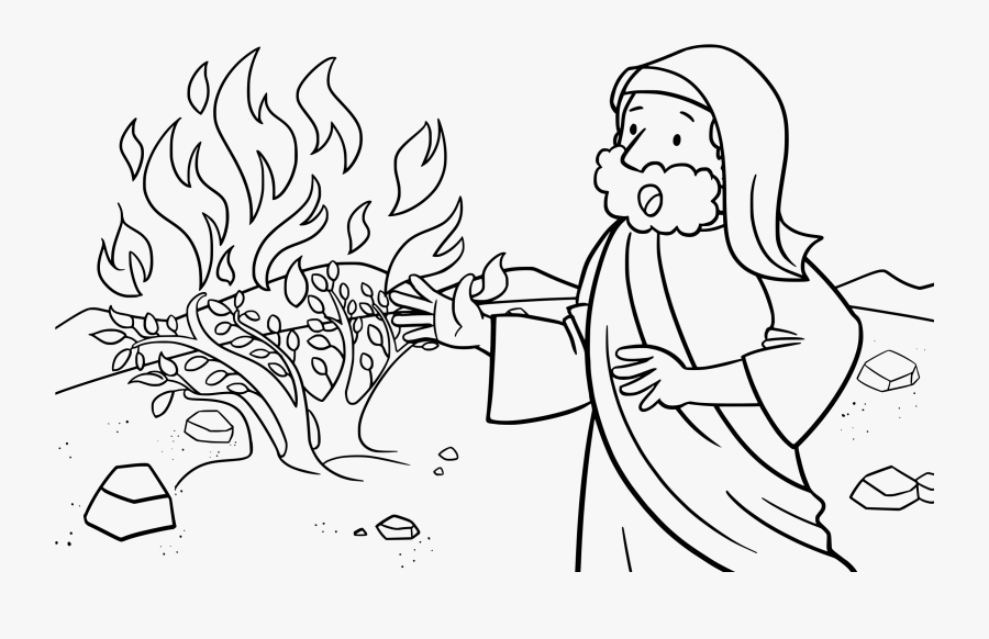 Moses And Burning Bush Coloring Pages - Moses And The Burning Bush Activity Sheets, Transparent Clipart