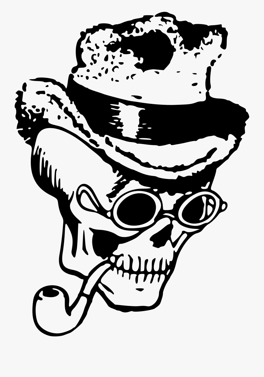 Skull With Pipe And Hat - Dibujos Figuras De Artes Visuales, Transparent Clipart