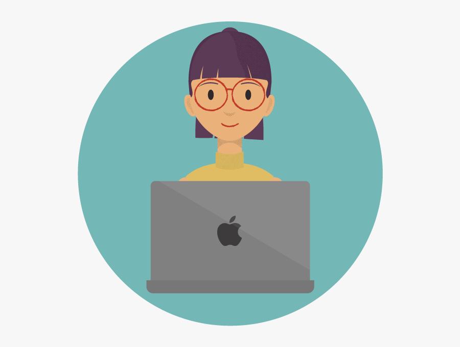 Woman Smiling On Apple Laptop - Woman On Laptop Icon Transparent, Transparent Clipart