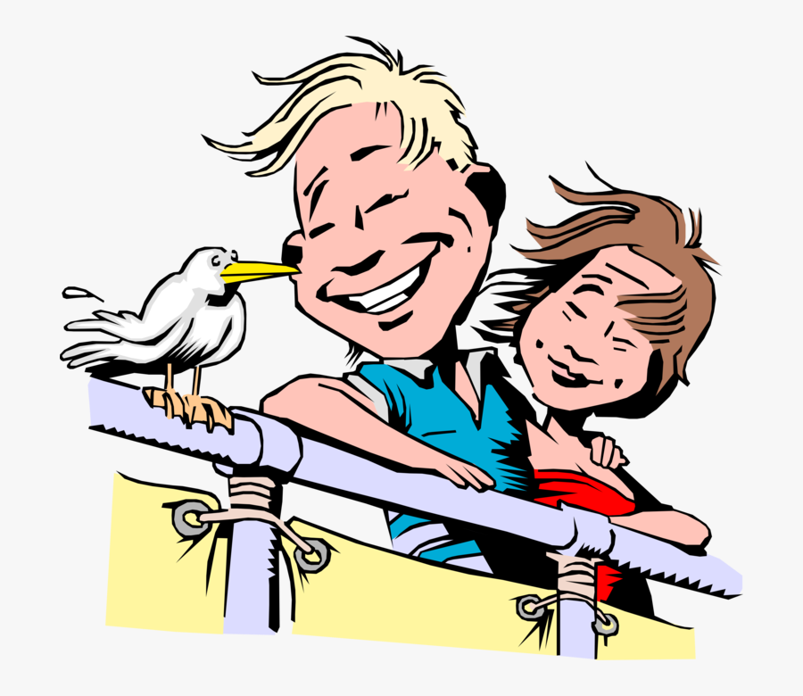 Vector Illustration Of Couple On Cruise Ship Vacation - Couple On A Cruise Clipart, Transparent Clipart