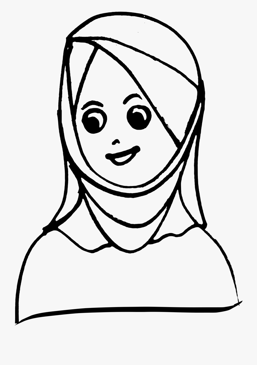 Woman Wiping Head Sweat Clipart - Head Scarf Clipart Black And White, Transparent Clipart