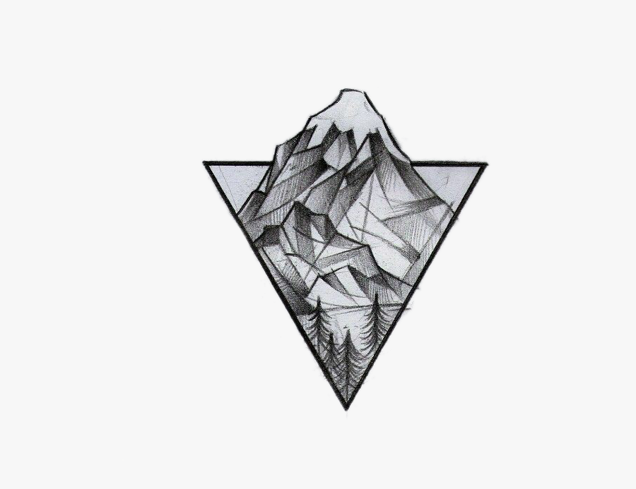 Transparent Mountains Clipart Png - Mountain Triangle Tattoo, Transparent Clipart