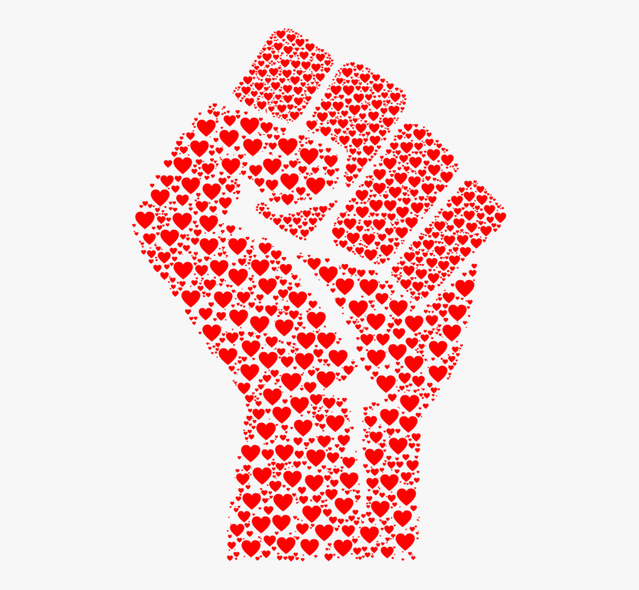 Raised Fist Love Fist Bump Hand Heart - Fist Made Of Hearts, Transparent Clipart