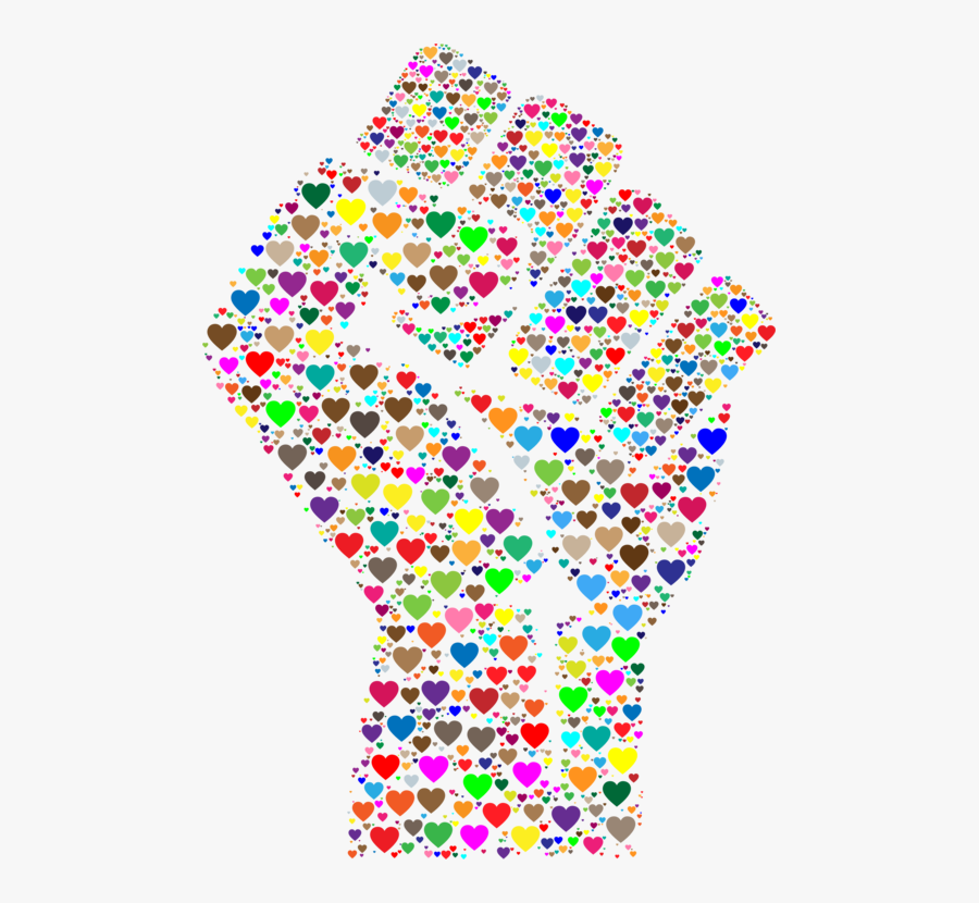 Symmetry,area,line - Fist Made Of Hearts, Transparent Clipart