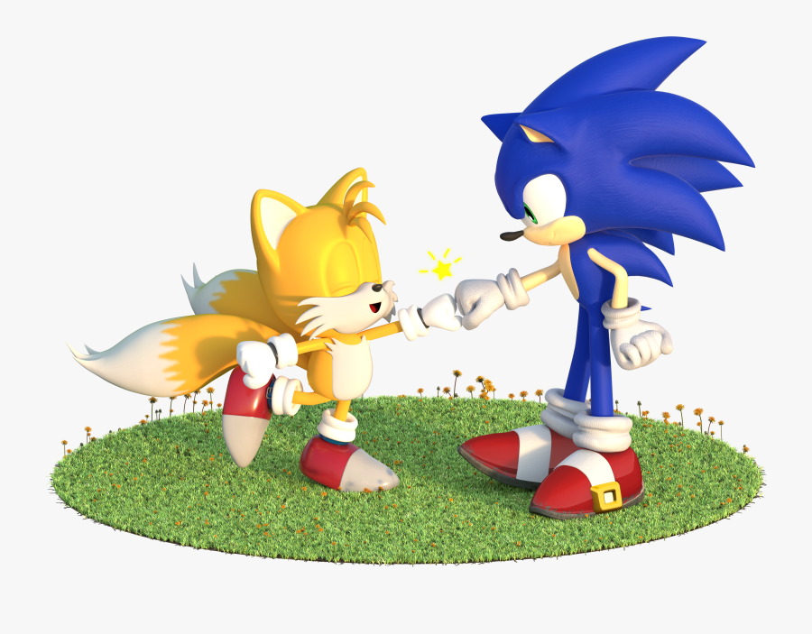 """Here""""s A Cute Fist Bump Between Sonic And Classic Tails - Cute Sonic And Tails, Transparent Clipart"""
