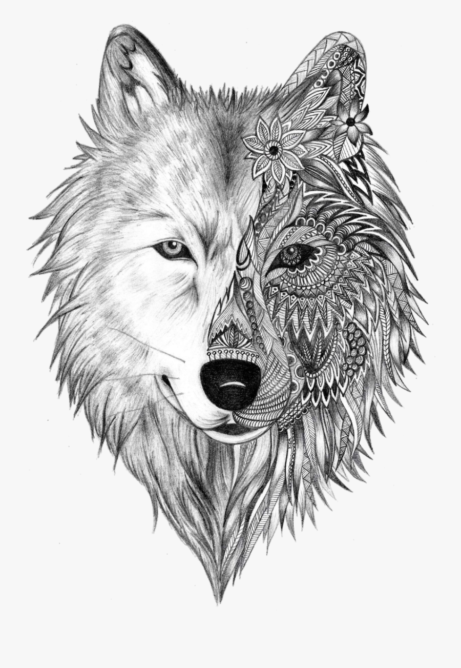 Tattoo Sleeve Gray Artist Heart Wolf Ink Clipart - Drawing Of A Wolf Head, Transparent Clipart