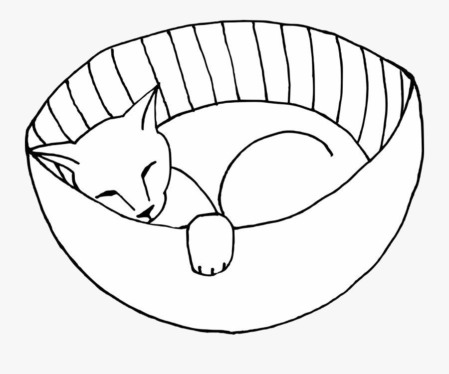 Cat Feline Sleeping Free Picture - Png Line Drawing Cat Basket, Transparent Clipart