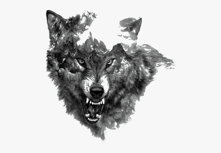 Tattoo Rocky Northern Mountain Painted Arctic Flash - Growling Wolf Tattoo Designs, Transparent Clipart