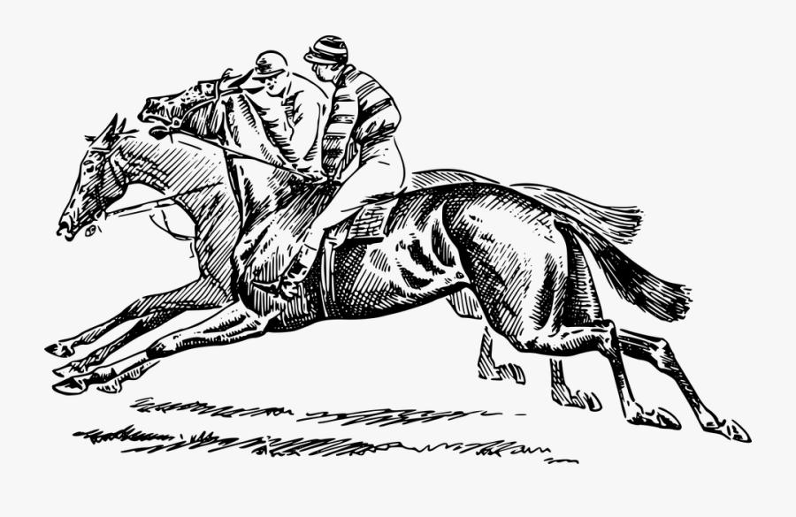 Transparent Race Horse Png - Horse Racing Clip Art Black And White, Transparent Clipart