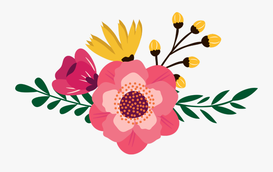Flower Clipart Boho - Boho Chic Floral Clip Art, Transparent Clipart