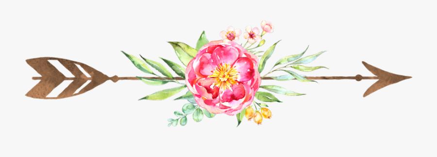 #flowers #arrow #gold #bohemain #boho #decoration #icon - Floral Arrow, Transparent Clipart
