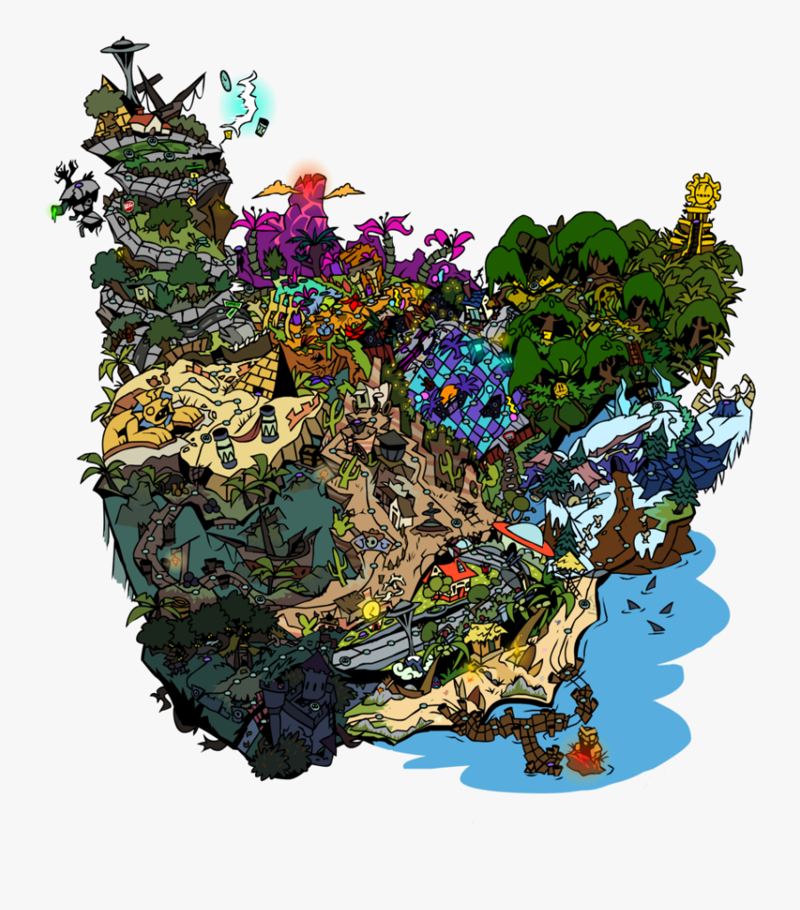 Pvz2 World Map By Devianjp824 - Plants Vs Zombies 2 All Zombies Modern Day, Transparent Clipart
