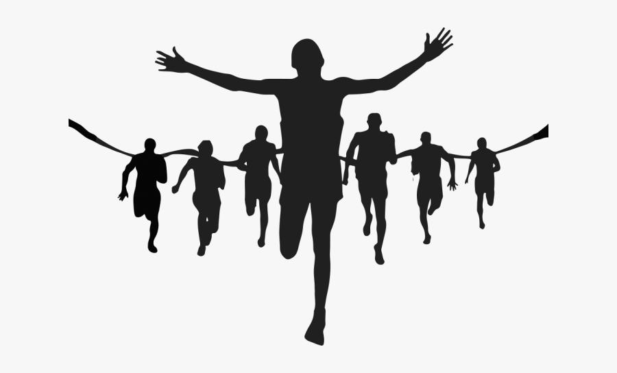 Silhouette Running Marathon Clip Art - Running People Silhouette Png, Transparent Clipart