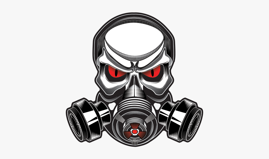 Printed Vinyl Gas Mask Skull Stickers Factory - Skull Gas Mask Logo, Transparent Clipart