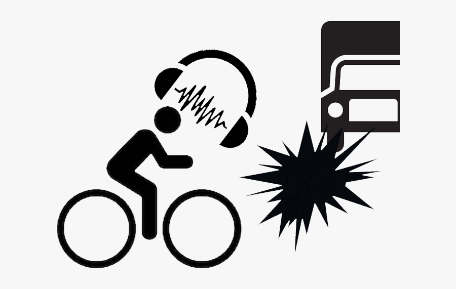 Shadow Man Image Of Cyclist With Giant Headphones Wth - Signage On Motorists Safety While Driving, Transparent Clipart