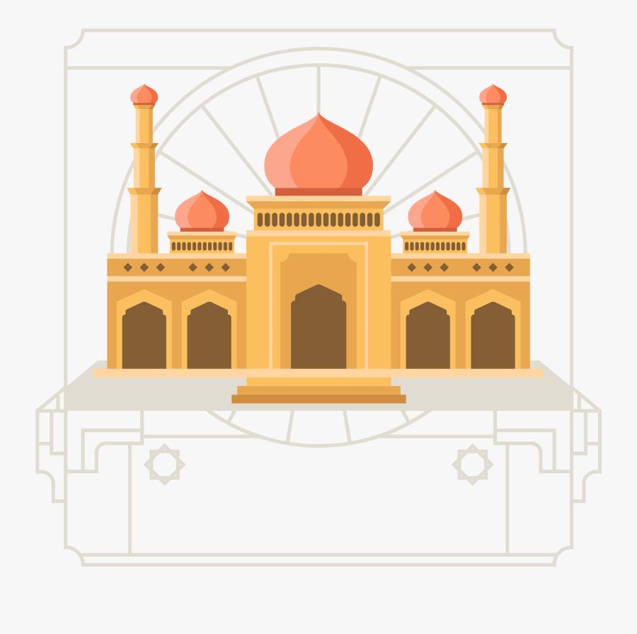 Mosque Islamic Architecture Flat Design - Masjid Vector Png Background Muharram, Transparent Clipart