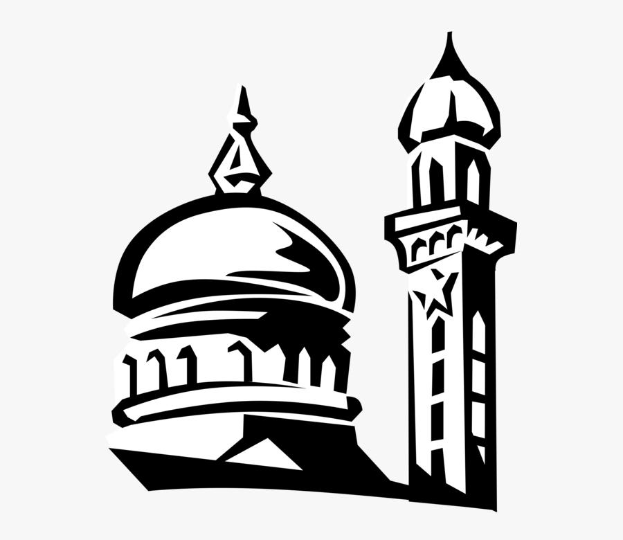Banner Transparent Islamic Dome Minaret Vector - Mosque Black And White, Transparent Clipart
