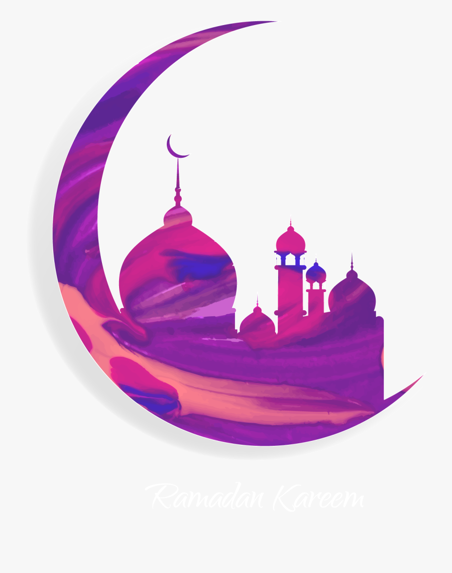 And Purple Quran Of Muslim Mosque Ramadan Clipart - Eid Mubarak Moon Png, Transparent Clipart