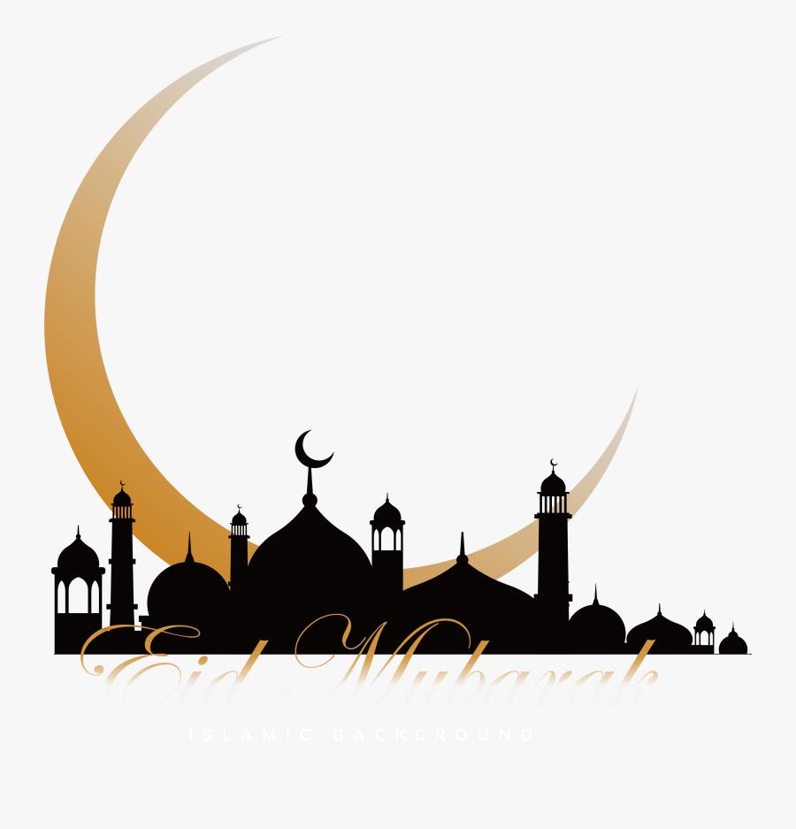 Quran Mosque Ramadan Moon Crescent Church Islam Clipart - Eid Mubarak Moon Png, Transparent Clipart