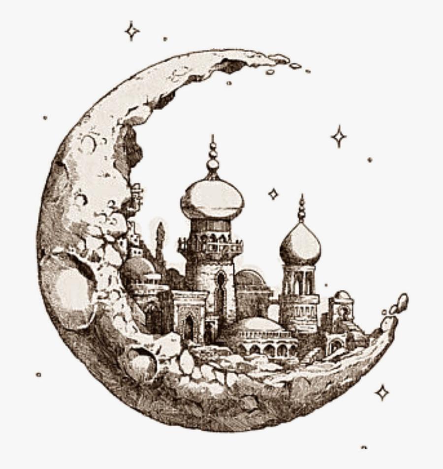 #mosque #ramadan #islam #islamic - Taj Mahal With Moon Drawing, Transparent Clipart