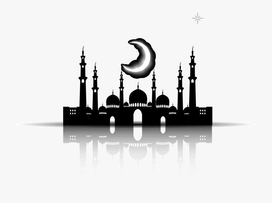 Silhouette Mosque Islamic Black Halal Church Architecture - Mosque Vector Black Png, Transparent Clipart