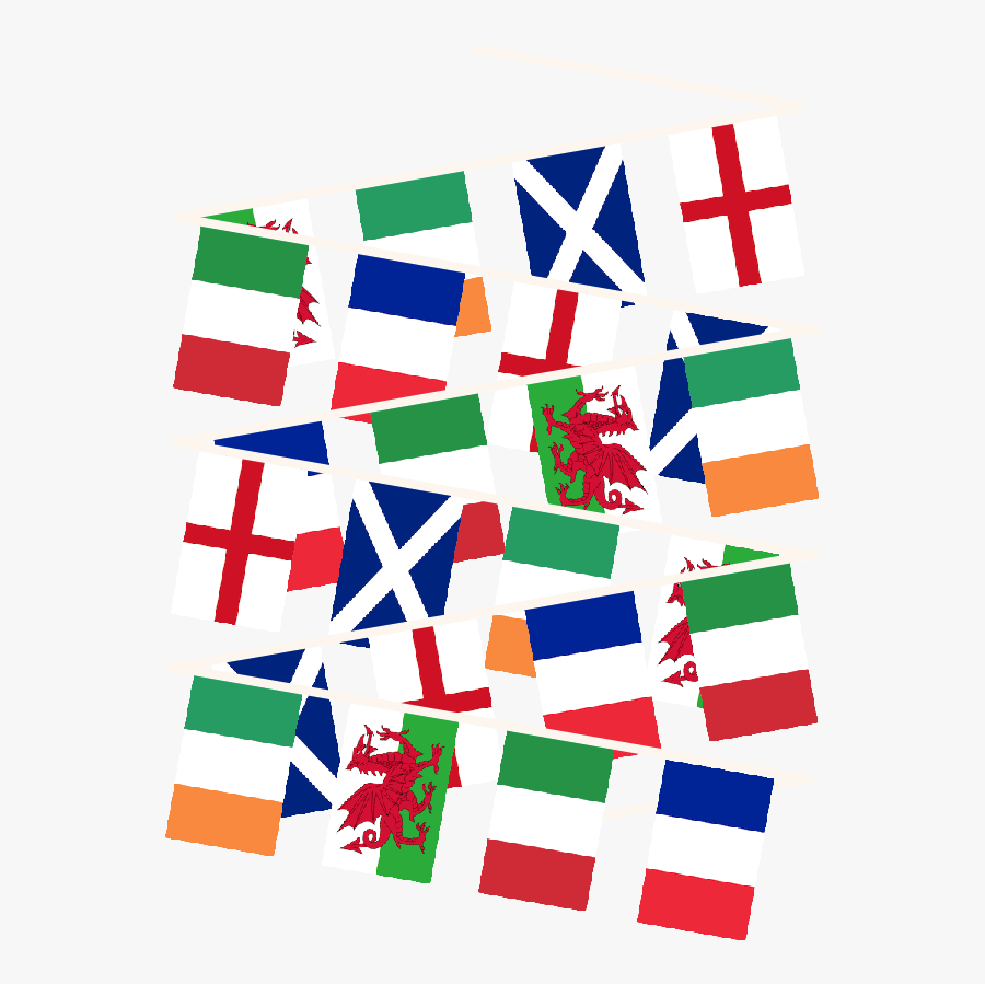 Square Clipart Bunting - 6 Nations Flags Png, Transparent Clipart