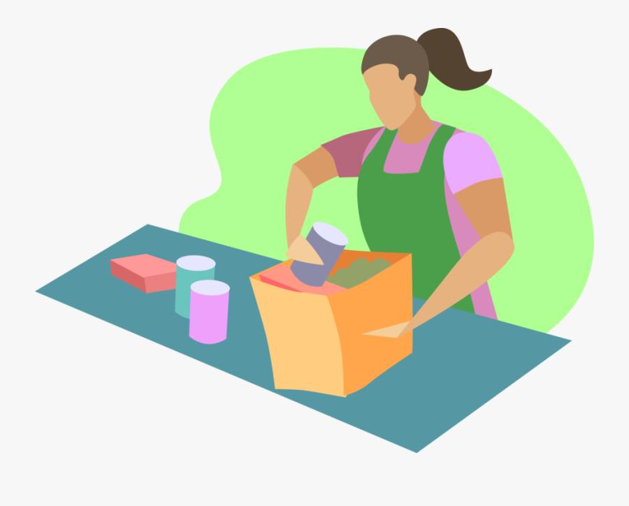 Store Clerk Packs Groceries - Illustration, Transparent Clipart