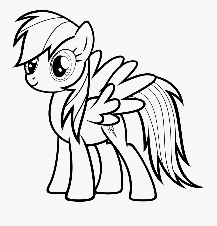 Rainbow Dash Coloring Pages - My Little Pony Rainbow Dash Drawing, Transparent Clipart