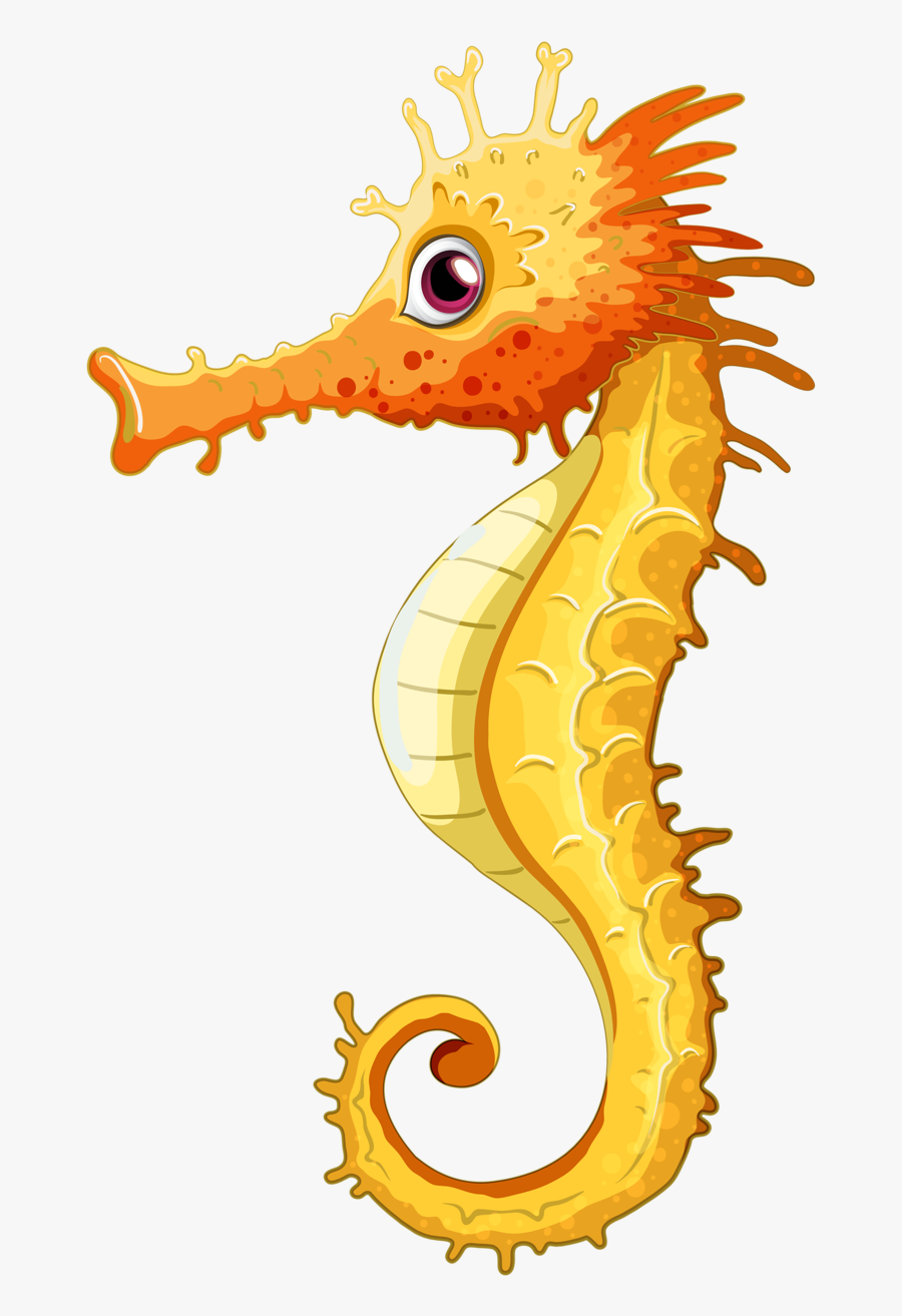 Clip Art Png Sea Animal - Seahorse Drawing With Colour, Transparent Clipart