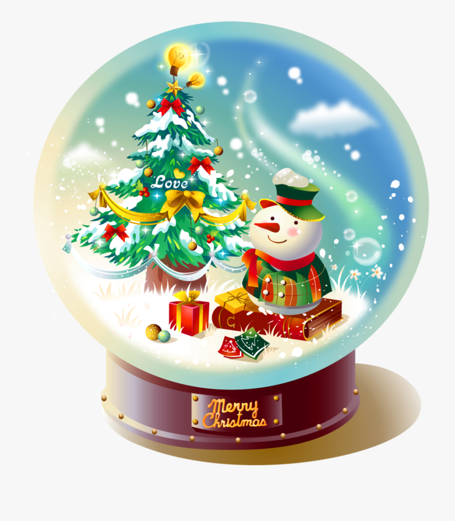 Photo Transparent Christmas Snowglobe With Snowman - Christmas Snow Globe Transparent Background, Transparent Clipart