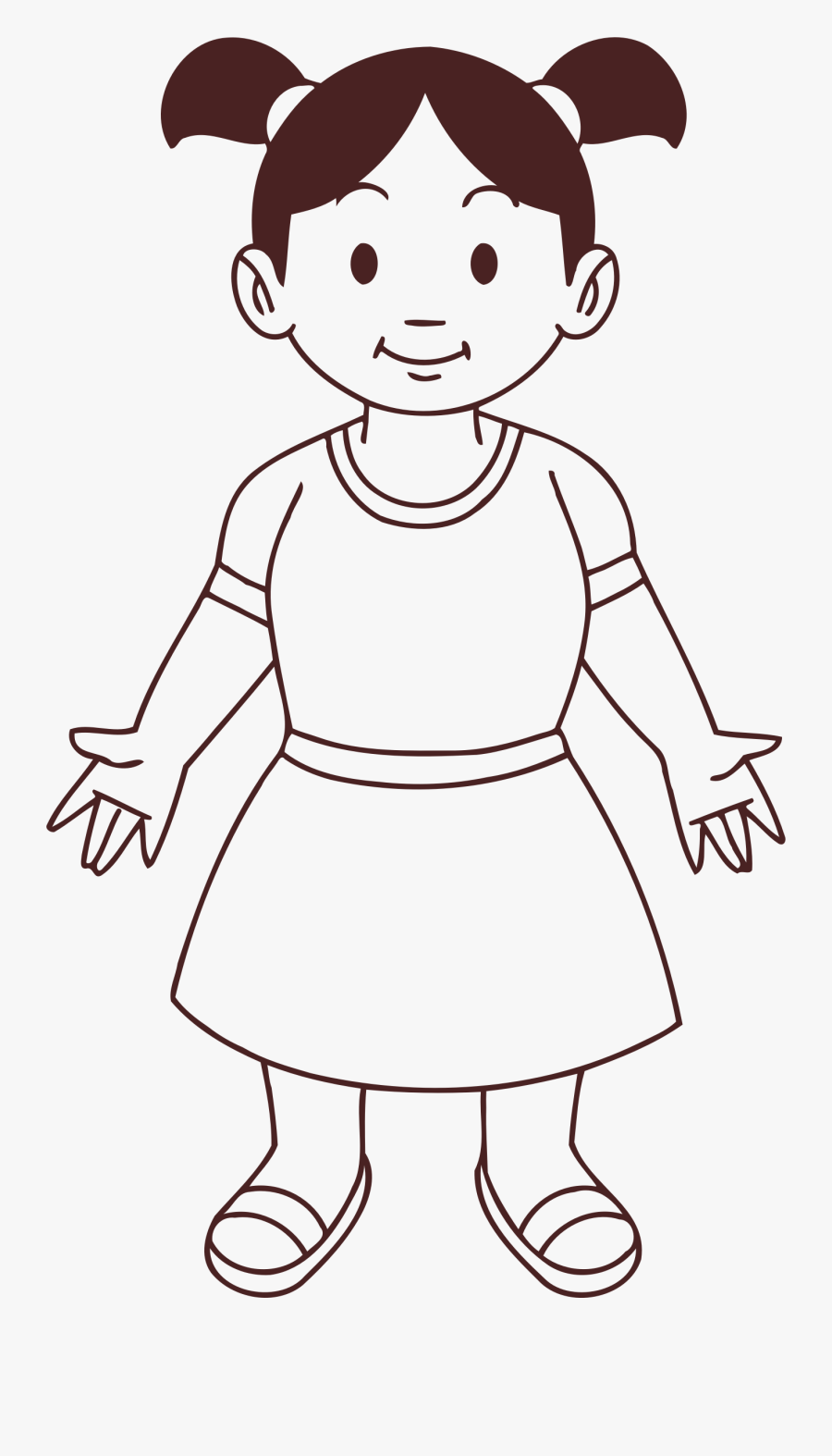 Draw Clipart Kid Draw - Girl Baby Line Drawing, Transparent Clipart