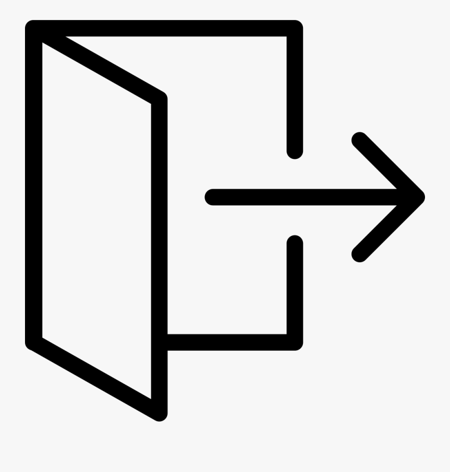 Thin Logout Exit Door Comments - Exit Open Door Icon, Transparent Clipart