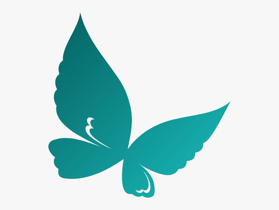 Teal Butterflies, Transparent Clipart
