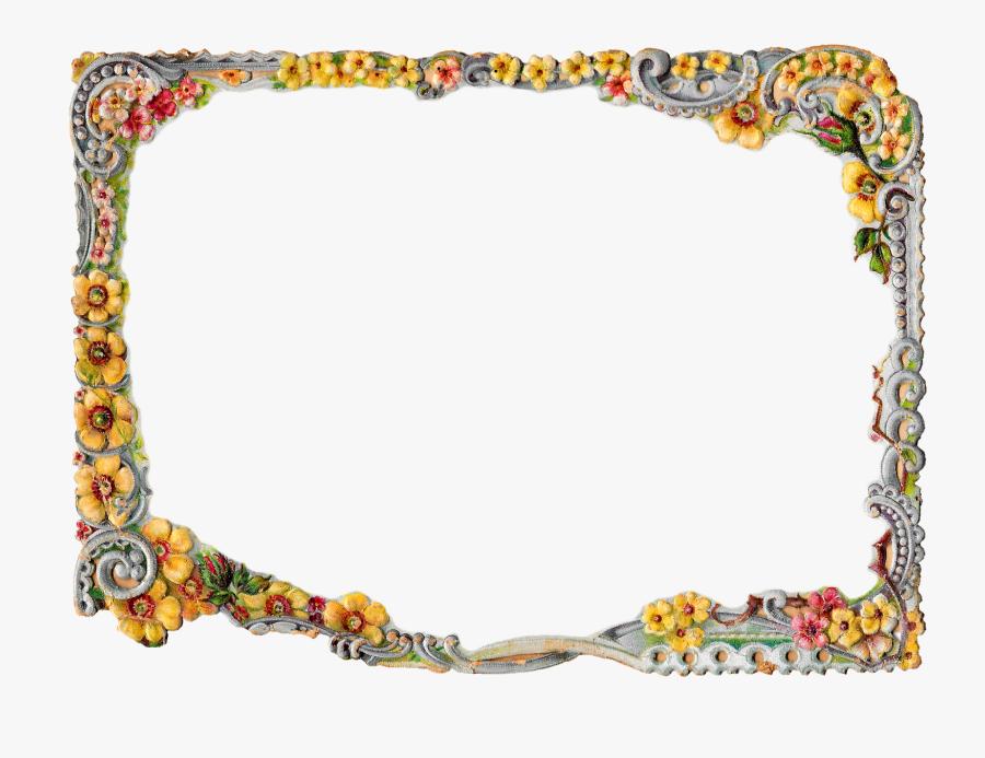Flower Swirl Border Frame Design Image Scrapbooking - Frame Borders Design Png, Transparent Clipart