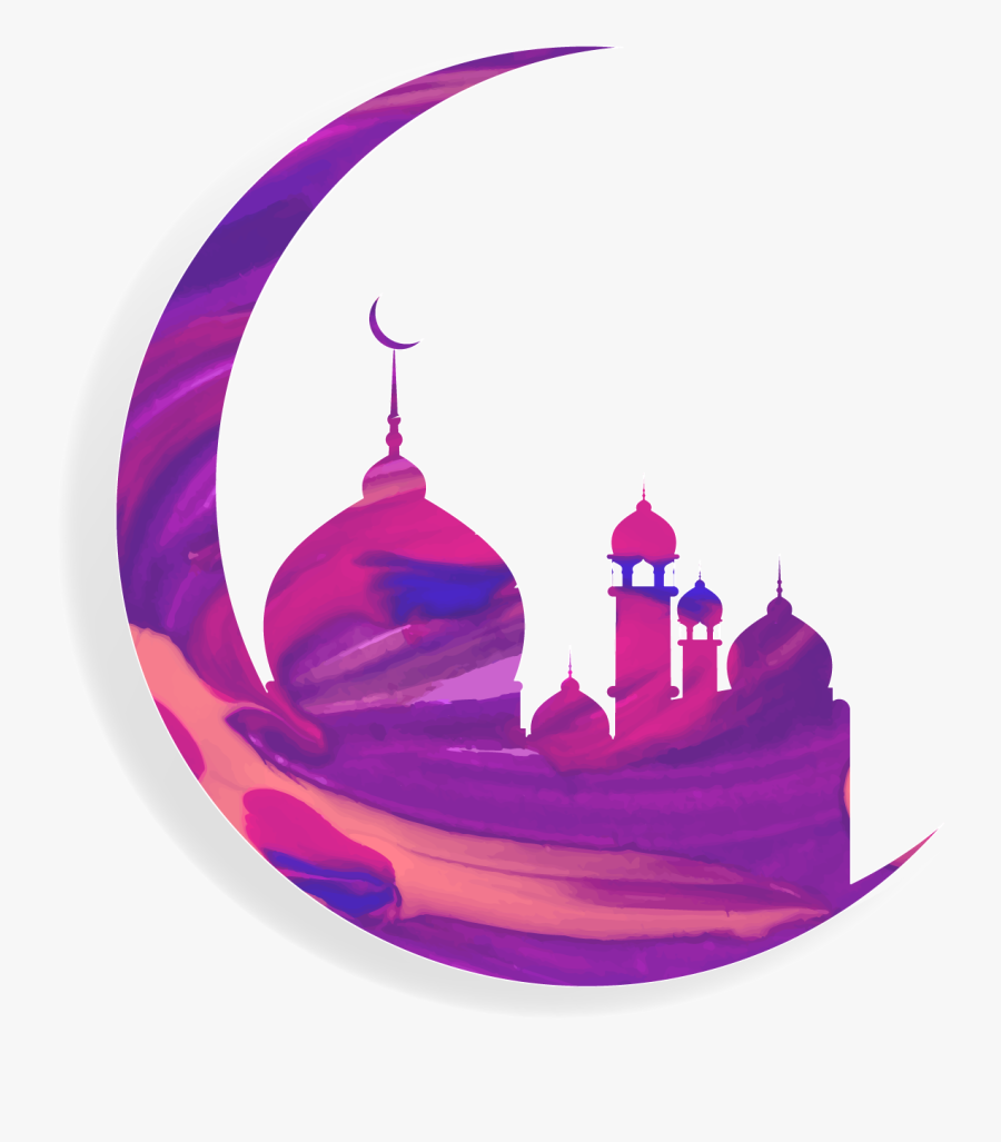 Vector Moon With Islam Mosque, Transparent Clipart