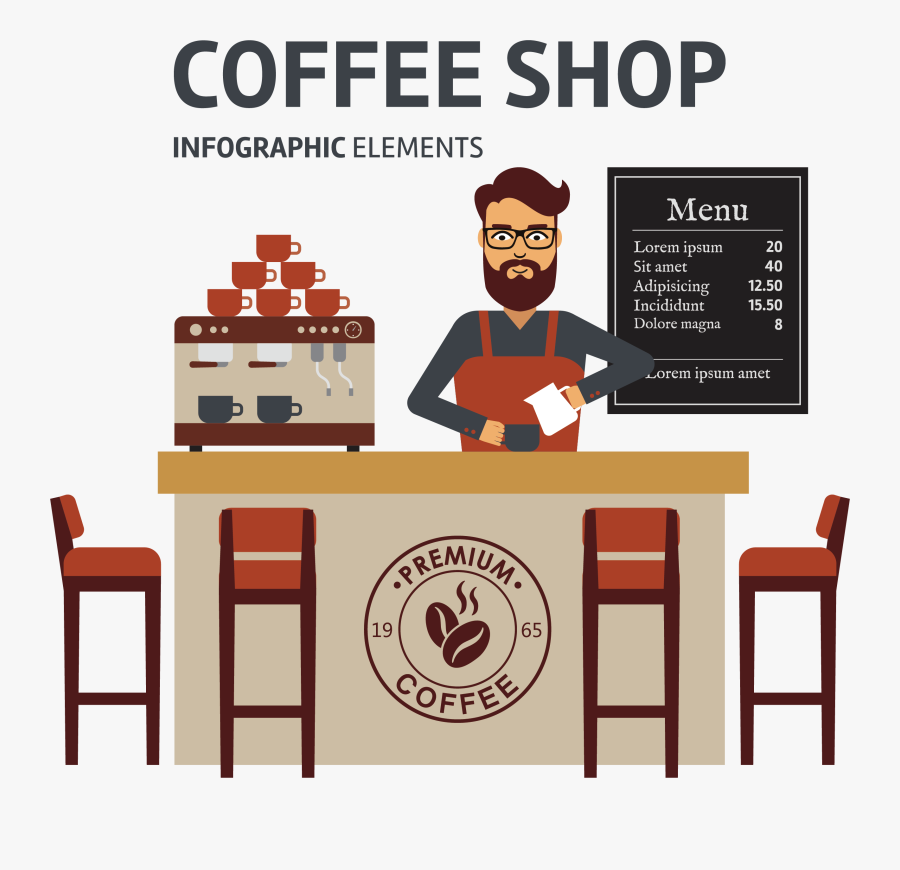Transparent Cafe Clipart - Coffee Shop Vector Png, Transparent Clipart