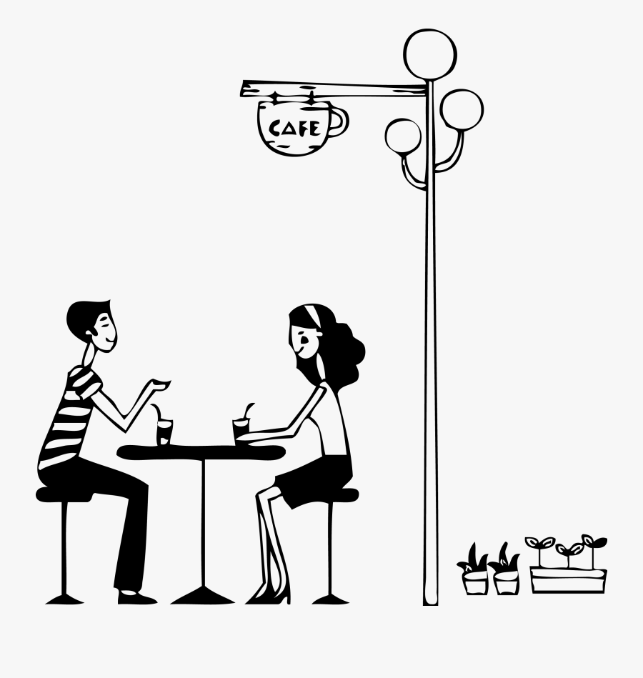 Coffee Tea Wall Decal - Coffee Shop Clipart Black And White, Transparent Clipart