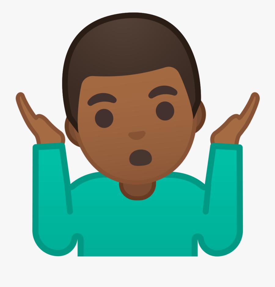 Man Shrugging Emoji Medium Dark Skin Tone - 🤷 ♂ Que Significa, Transparent Clipart