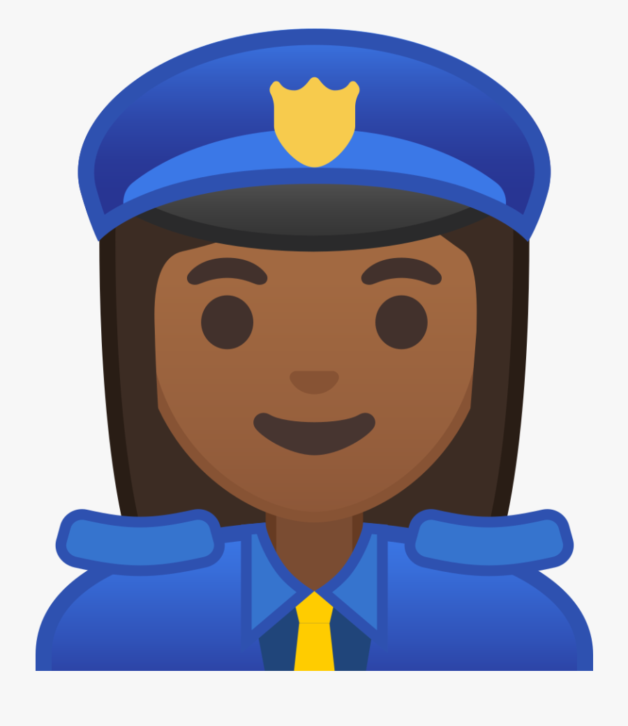 Woman Police Officer Medium Dark Skin Tone Icon - Emoji Woman Police Officer, Transparent Clipart