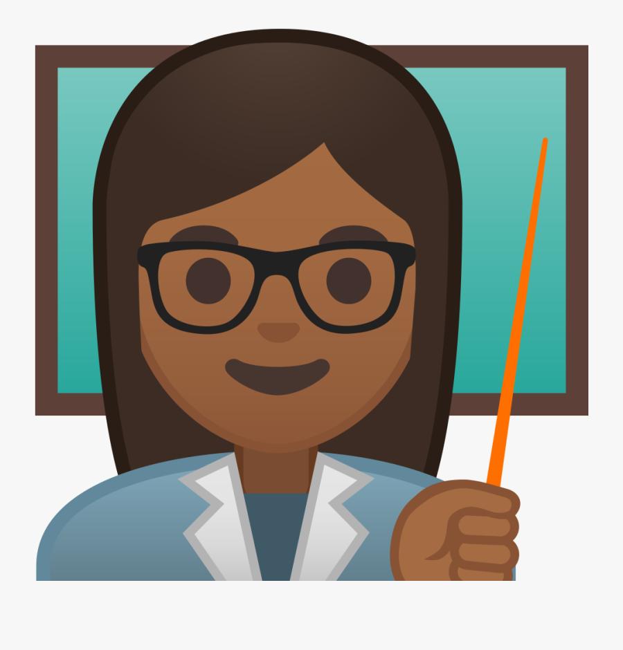 10228 Woman Teacher Medium Dark Skin Tone Icon - Transparent Background Teacher Icon, Transparent Clipart