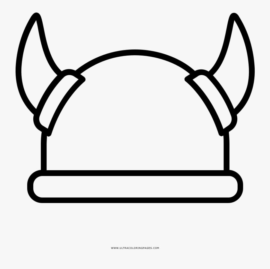 Viking Helmet Coloring Page - Viking Helmet Clipart, Transparent Clipart