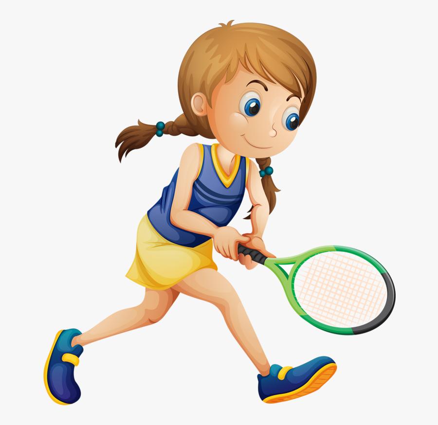 Girl Playing Tennis Clipart - Crianças Jogando Tênis, Transparent Clipart