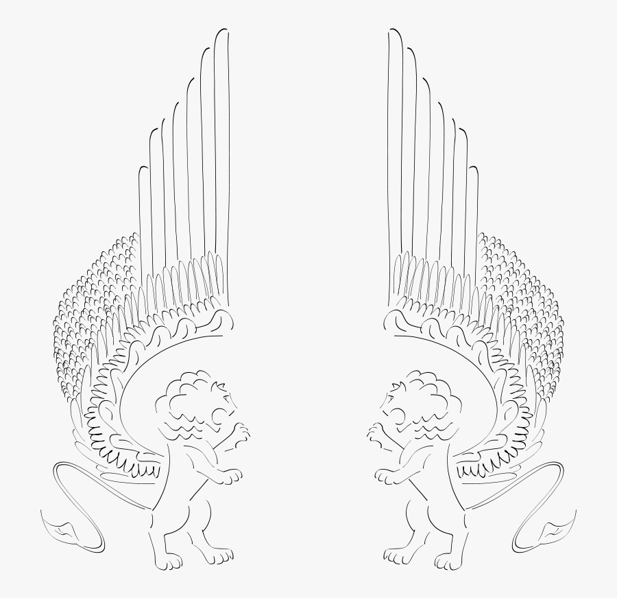 Winged Lions Facing In - Winged Lions Line Drawing, Transparent Clipart