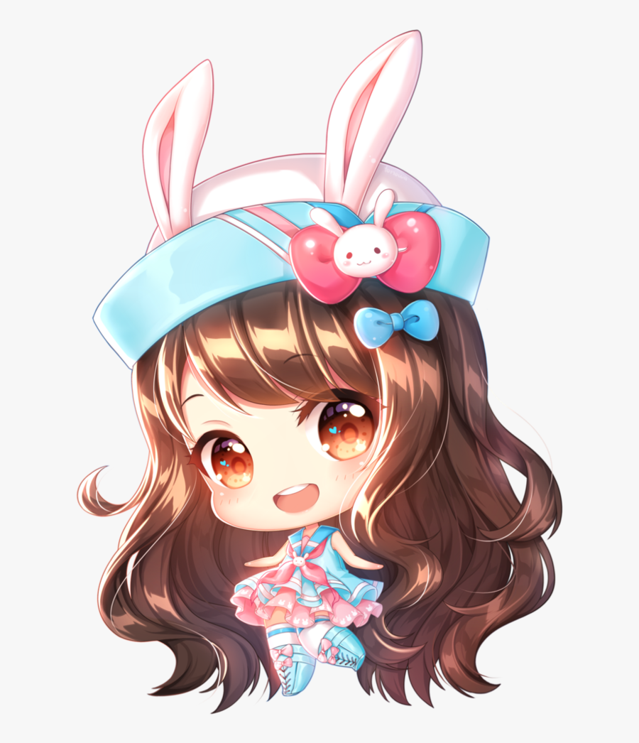 "Normal Chibi Commission For I""m Sorry, It Took A Little - Brown Hair Anime Girl Chibi, Transparent Clipart"