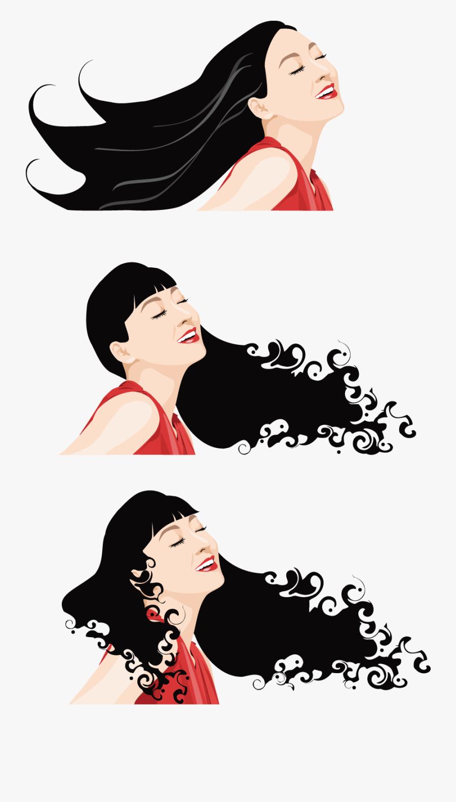 Cartoon Long Hair Illustration - Hair Cartoon, Transparent Clipart