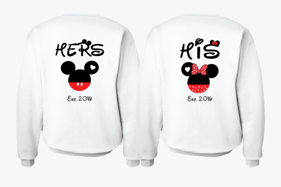 Cute His Hers Big Ears Mickey Minnie Mouse Head Polka - His And Hers Mickey Mouse Sweatshirts, Transparent Clipart